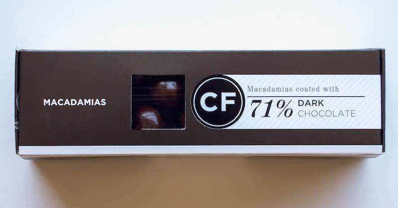 Cocoafair Macadamias coated in 71% Dark Chocolate