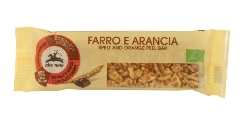 Alce Nero Organic Spelt and Orange Peel Bar - 22g