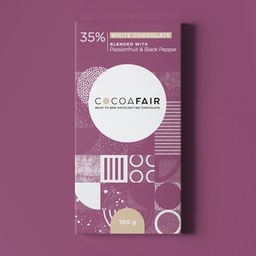 Cocoafair 35% White Chocolate with Passionfruit & Black Pepper